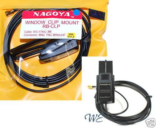 2pcs NAGOYA RB-CLP Window Clip Mount RG-174//U 3m Cable SMA-M fr Radio//Antenna