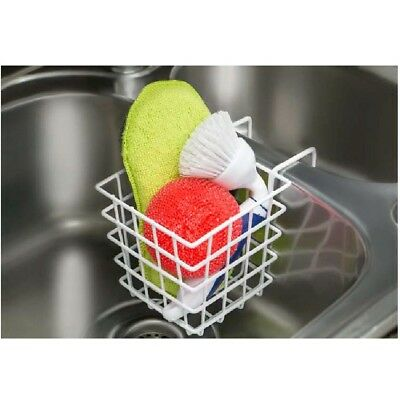 Laminated Hanging Sink Basket Wire Holder Cleaning Utensils Brush Easy Clean