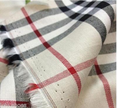 TARTAN PLAID CHECK Shirt Fabric Cotton Material / 145cm wide / tan black red