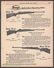 1961 SAVAGE Model 110, 110-MC, 110 MC-L Bolt Action Repeating Rifle AD
