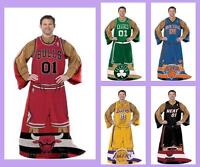 Nba Licensed Comfy Fleece Afghan Throw Blanket With Sleeves - Choose Your Team