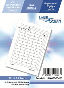 Klebeetiketten DIN A4 weiß 38,1x21,2mm Laser Inkjet Kopierer 100 Blatt