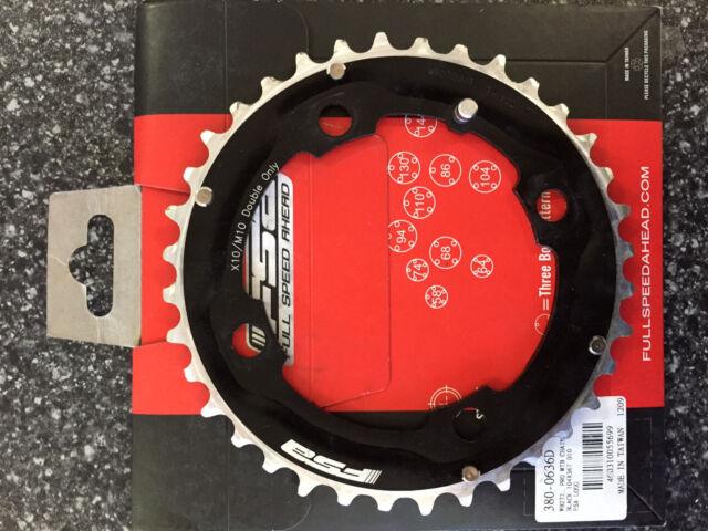 FSA Super 10 Speed MTB Mountain Bike Chainring 4x104mm BCD 36t Black for sale online