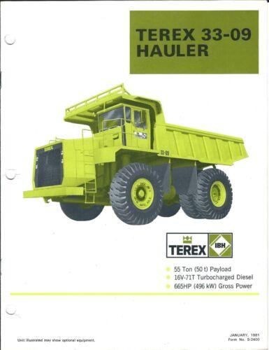 Equipment Brochure - Terex - 33-09 - Haul Truck Dump Mining - 1981 (E3880)