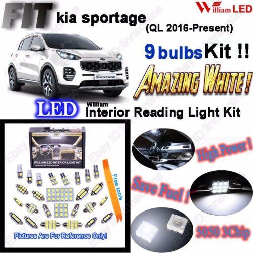 Kia Sportage 9 Bulbs 6000K White Lamps Interior LED Light Kit For QL 2016-2017