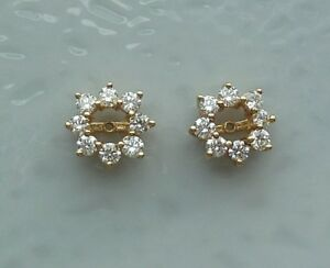 Details About 14k Yellow Gold Diamond Earring Jackets For Studs Earrings 0 80 Tcw