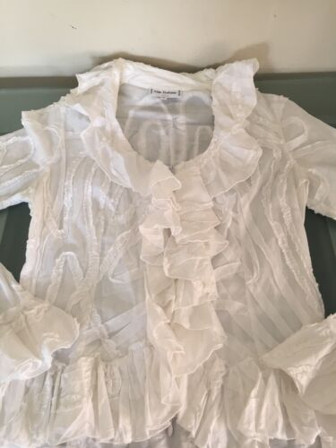 Anne Fontaine White Ruffled Blouse-Sz.4