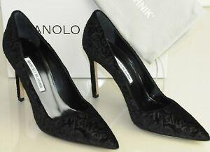 e583c9636b2 NEW Manolo Blahnik BB TOLA 105 Black TEXTURED Velvet Pumps Shoes ...