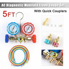 Refrigeration R12 R22 R502 R134a Manifold Gauge Set 5ft Hose Quick Coupler Hvac