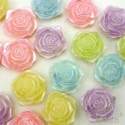 5/20/100pcs Resin Flatback/Beads Mixed Pearl Rose 15MM DIY Embellishment Craft