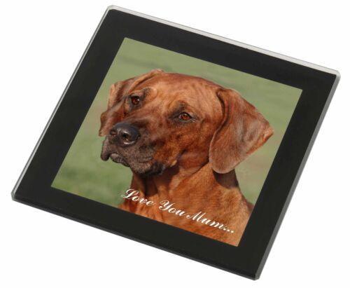 AD-RR1lymGC Rhodesian Ridgeback /'Love You Mum/' Black Rim Glass Coaster Animal B