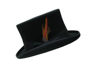 New 100/% Wool Felt Handmade Light Grey Top Hat With Satin Lining