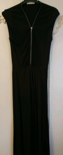 8 H Uk Madonna Diamante Dress Lycra Black Midi Nwot By Front Stretch M For amp;m Zip t6FwOx