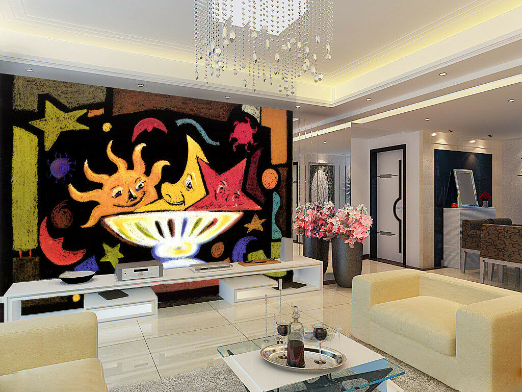 3D Sun Moon 405 Wallpaper Murals Wall Print Wallpaper Mural AJ WALL UK Jenny