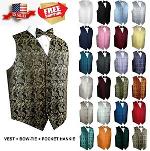 Men-039-s-Paisley-Formal-Tuxedo-Vest-Bow-Tie-amp-Hankie-set-Wedding-Prom-Cruise