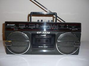Vintage-SHARP-GF-3939-Mini-Boombox-Stereo-Radio-Cassette-recorder-039-80s