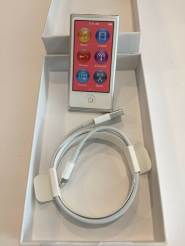 Latest Apple iPod Nano 7th Gen Silver  A1446 Model 16GB with USB Bundle Cable