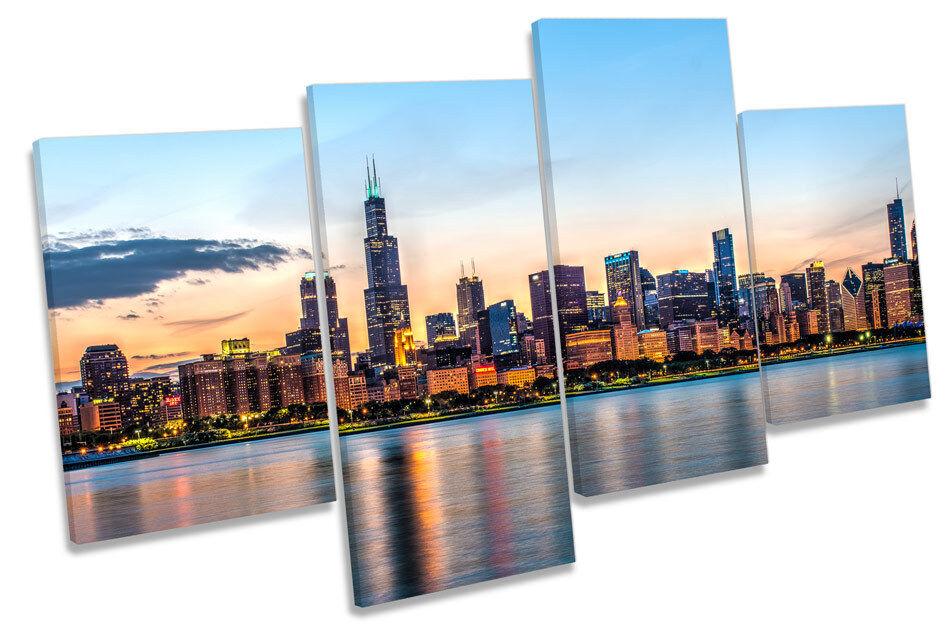 Chicago horizonte enmarcado ciudad de Illinois Multi tela pared arte enmarcado horizonte Panel fd5382