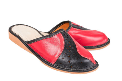 Leather Clogs Black Ladies donnas All Mules Red amp; Sizes 100 Slippers pwXqFgq6n