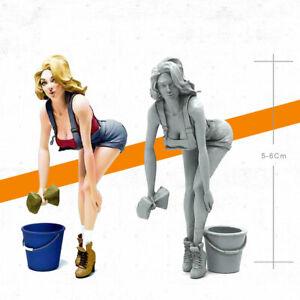Unpainted-1-35-Car-Washing-Beauty-Girl-Resin-Figure-Model-Kit-Unassembled-GK