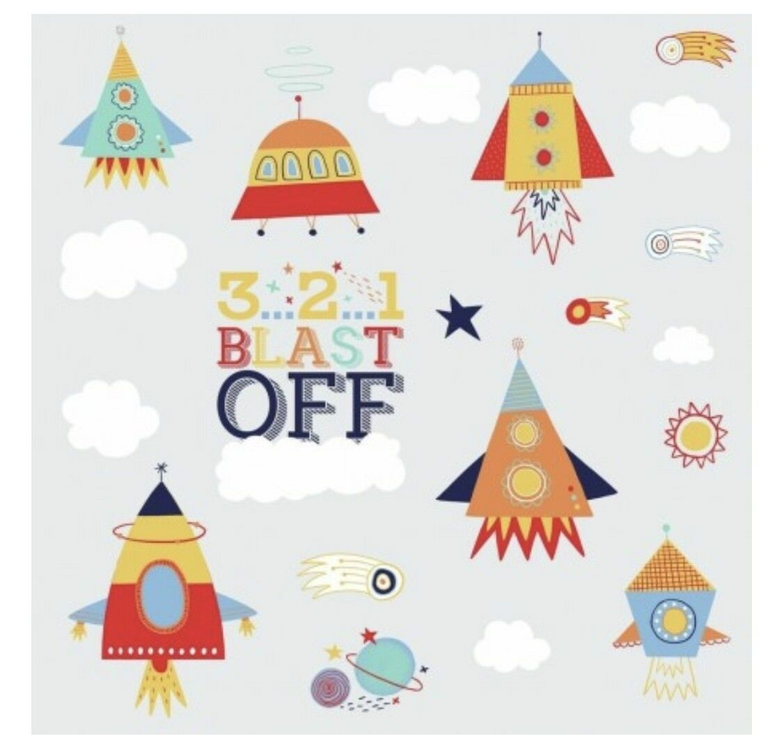 Shoot For The Moon Wall Decals 3 2 1 Blast Off Room Decor Stickers Rocket Ship For Sale Online
