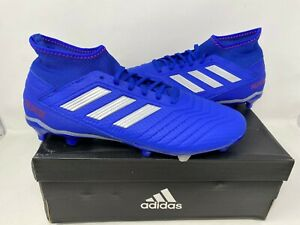 NEW! Adidas Men's Predator 19.3 FG Lace Up Soccer Cleats Blue #BB8112 W76 ck