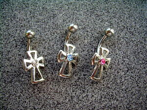 14g-Clear-CZ-Gem-Cut-Out-Cross-Goth-Belly-Navel-Ring-18-316L-Surgical-Steel