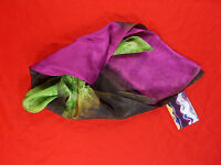 Hand Painted 100% Silk Scarf In Green, Purple, Brown, Black W Artist's Label
