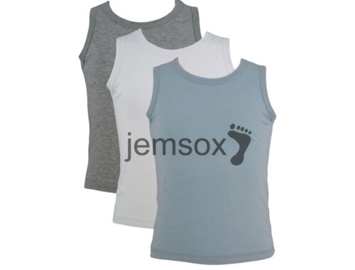 10 Pack Boys 100/% Cotton Vests 1.5-2 2-3 3-4 5-6 7-8 Years White//Sky//Grey Marl