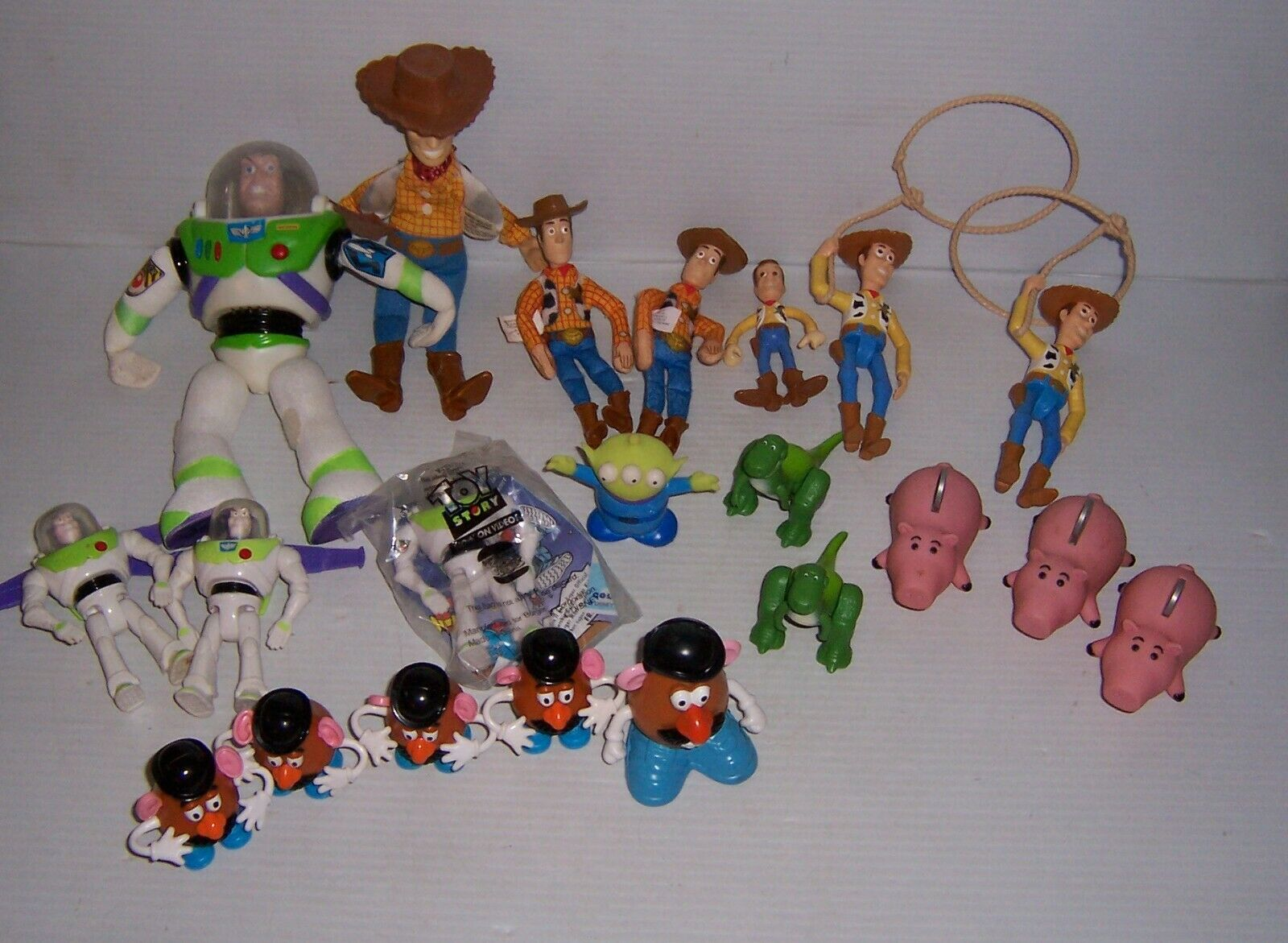 Lot of 1990s Burger King Toy Story Toys Buzz, Woody, Mr. Potato Head, Rex, Hamm
