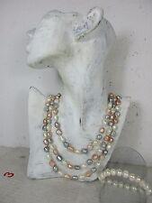 sehr lange Perlenkette & Armband Perlen einzeln geknotet 100% echte Farben 164cm