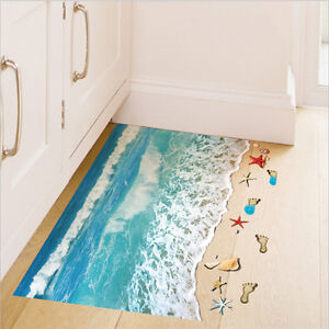 Image Is Loading 3D Blue Beach Starfish Floor Stickers Removable Kids