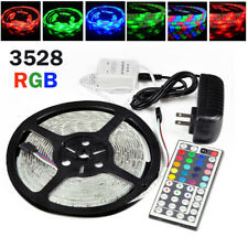 5M Waterproof 3528 RGB SMD 300 Flexible LED Strip Rope Lights 12V Power Supply