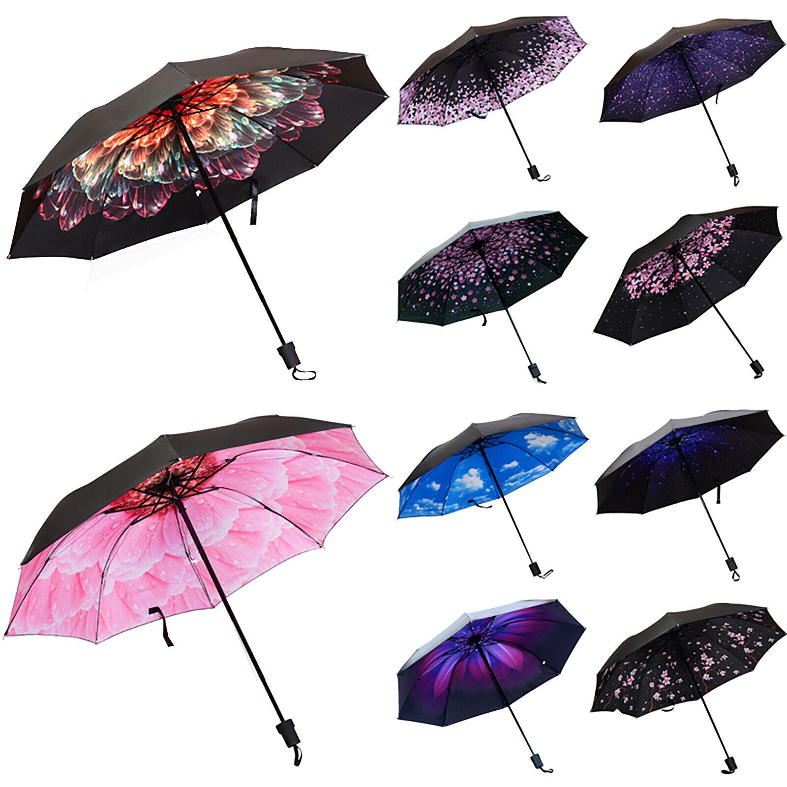 Double Layer Anti UV Upside Down Folding Handle Reverse Sun Rain Umbrella Floral