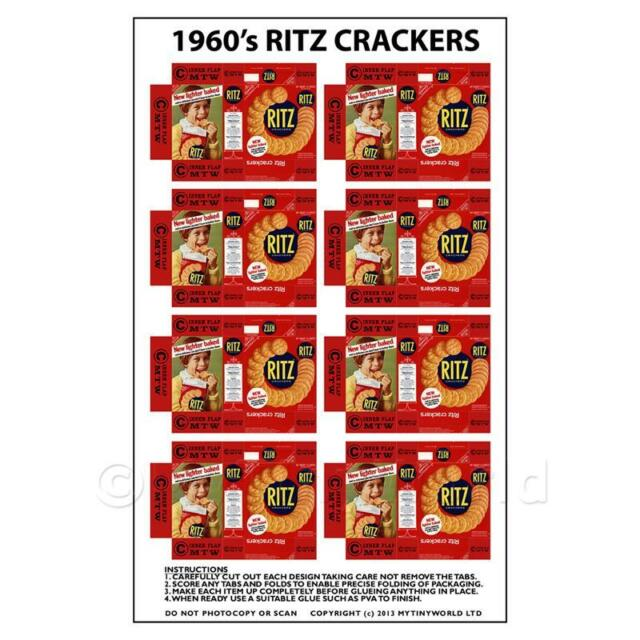 Dolls House Miniature Packaging Sheet Of 8 Ritz Crackers From 1960s