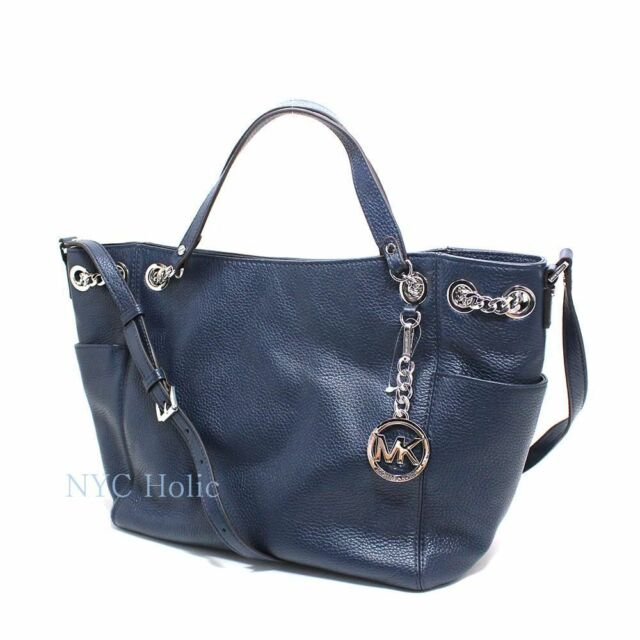 21dc977defa4 Michael Kors Jet Set Chain Item Large Gather Leather Shoulder Tote Navy