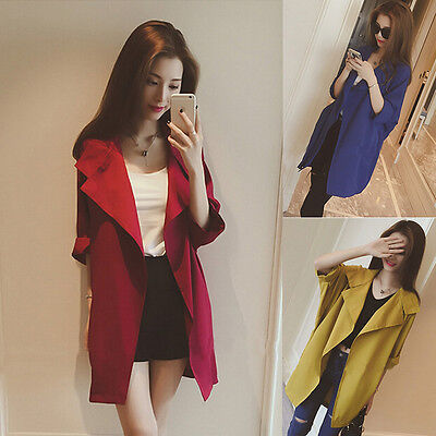 Korean Fashion Women Thin Loose Long Jacket Coat Outwear Windbreaker Cardigan