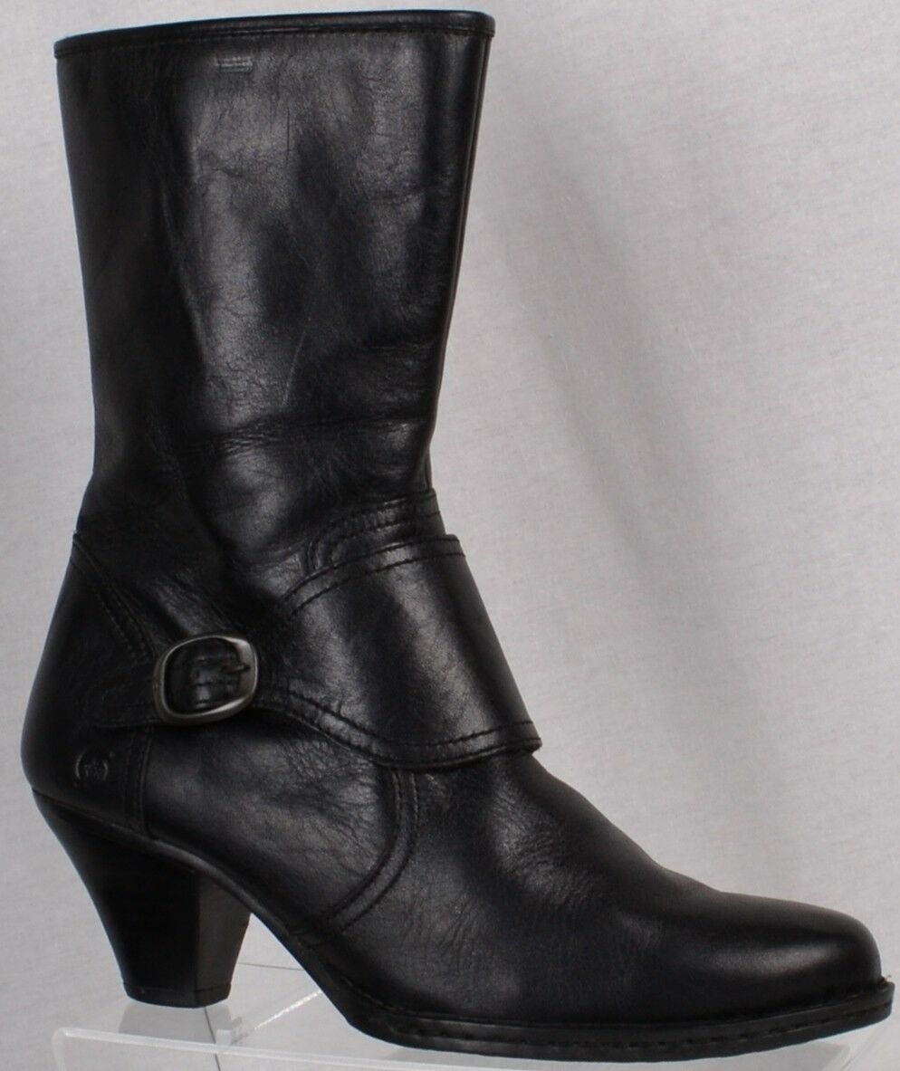 Womens BORN Black Leather Side Zip Buckle Boots Size 9.5M Heels