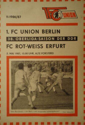 Programm 1986//87 Union Berlin RW Erfurt