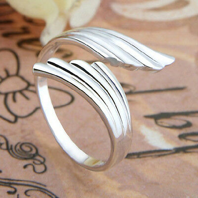 Chic Fashion Plated silverr Double Angel Wings Opening Adjustable RING Gift