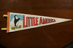 Vintage Little America Wyoming Pennant Souvenir Penguin