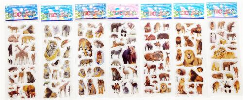"7 sheets STICKER LOT 3D CARTOON SMALL PVC STICKERS LOT"" ANIMAL WORLD""CHILDREN"