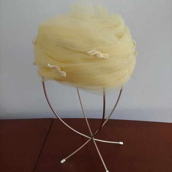 Vintage 60s Yellow Lace Pillbox Women's Hat FREE SHIPPING