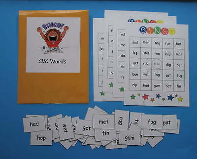 Teacher Made Literacy Center Educational Resource Game CVC Words BINGO