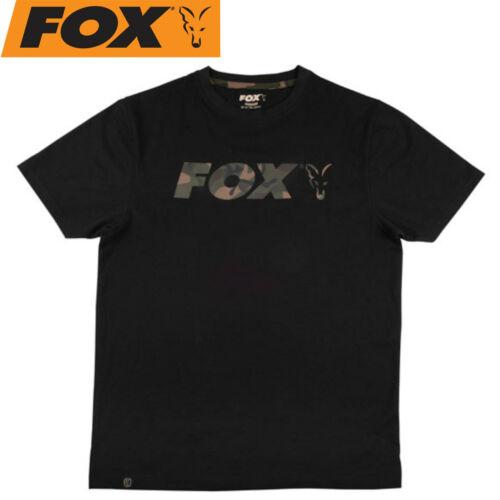 Karpfenbekleidung Angelshirt für Karpfenangler Fox Black//Camo Raglan T-Shirt
