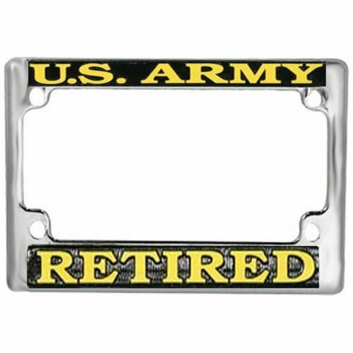 US Army Retired Motorcycle License Metal Plate Frame OFFICIALLY LICENSED