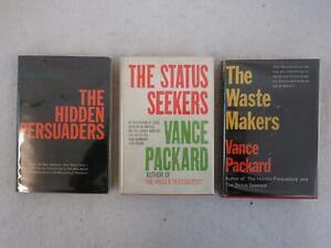 Lot-of-3-VANCE-PACKARD-Hidden-Persuaders-Status-Seekers-Waste-Makers-HC-DJ-039-s