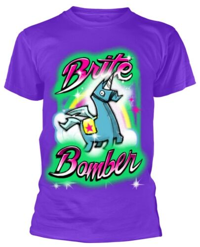 Purple NEW /& OFFICIAL! Adult T-Shirt Fortnite /'Brite Bomber Airbrush/'