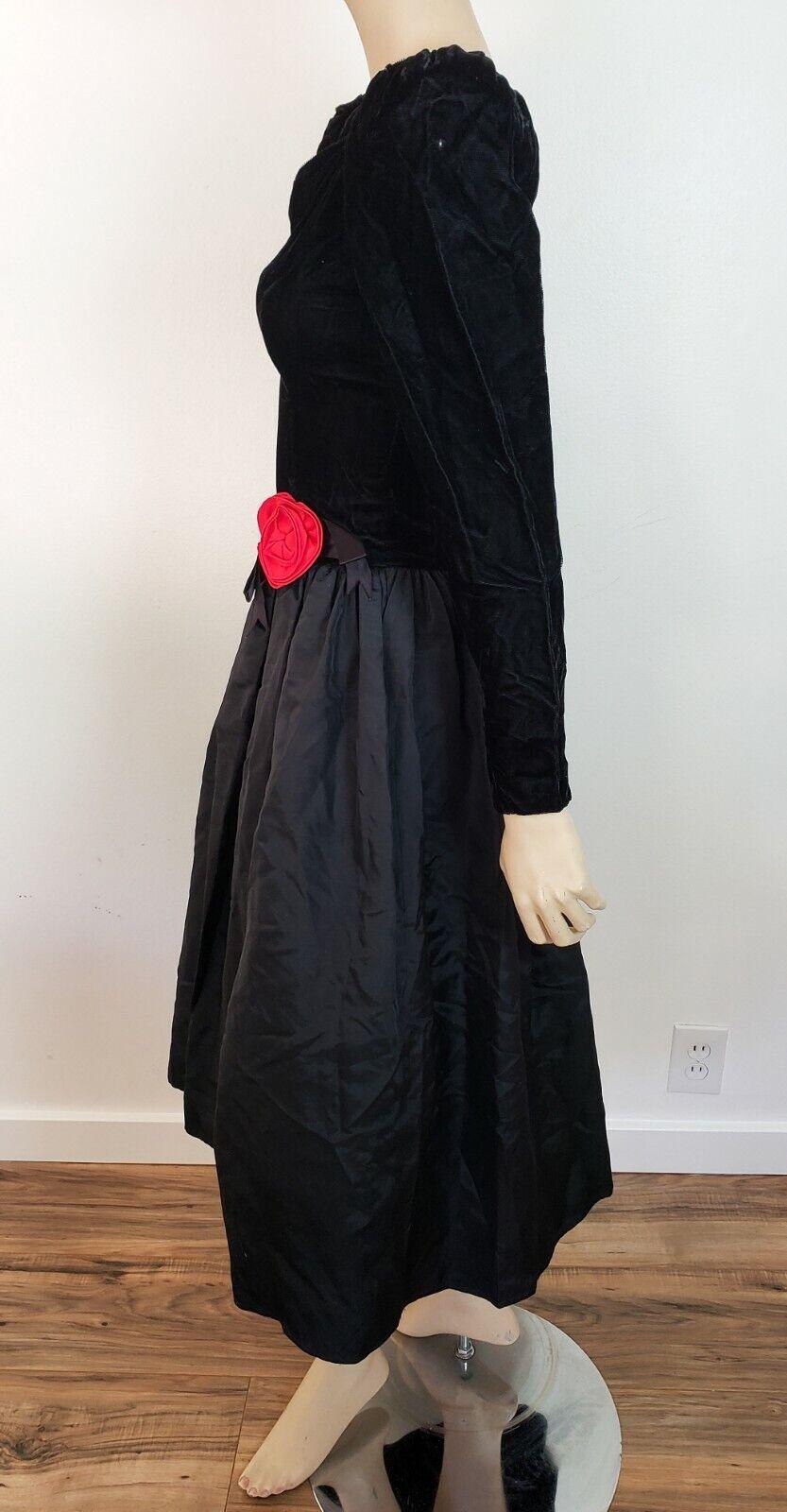 Vtg 1980s GUNNE SAX TAFFETA & VELVET PROM DRESS G… - image 4