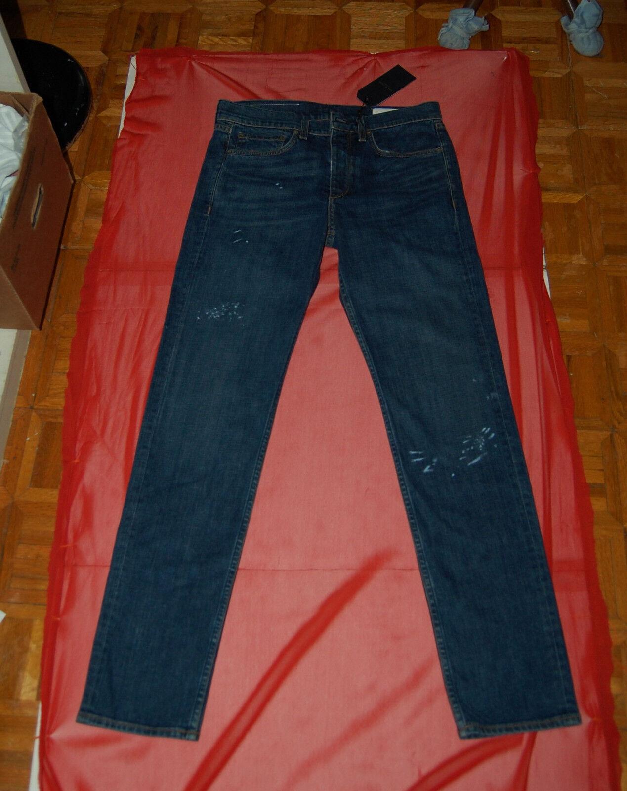 NWT rag & bone FIT 2 Slim Eavis men denim washed jeans size 31 actual W 32